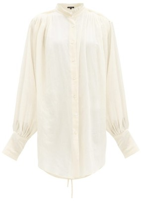 Ann Demeulemeester Pleated-neck Cotton-gauze Blouse - White