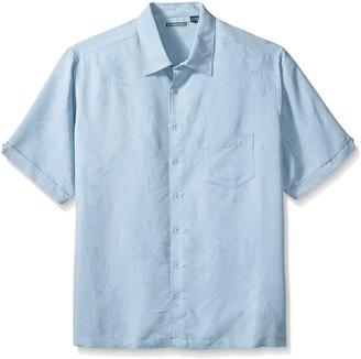 Cubavera Men's Tropical Tonal Pocketed Short Sleeve Woven Shirt
