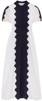Valentino Paneled Broderie Anglaise Cotton-blend And Silk-crepe Midi Dress
