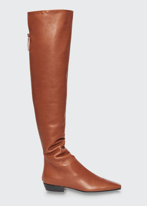 The Row Slouchy Leather Knee Boots