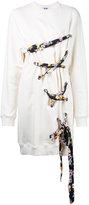 MSGM oversized lace detail sweatshirt - women - Cotton - M