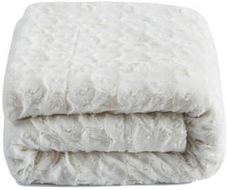 Collection Roses Fur Sherpa Fleece Blanket, White Petal, 63x87
