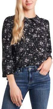 CeCe Floral-Print Collar Blouse