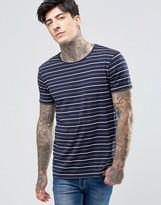 Scotch & Soda T-Shirt Navy Stripe In Stretch Slim Fit In Navy