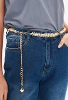 Missguided Gold Chain Pearl Belt, Gold