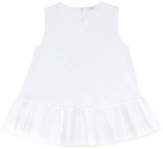 Il Gufo Tulle-trimmed cotton top