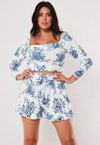 Missguided Plus Size White Co Ord Porcelain Print Shorts