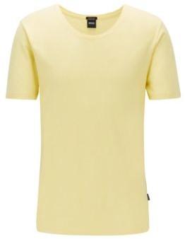 BOSS Italian-cotton T-shirt with wide neckline