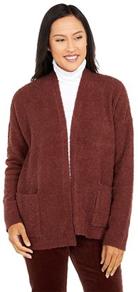Eileen Fisher Organic Cotton Boucle Cardigan (Brown Stone) Women's Clothing