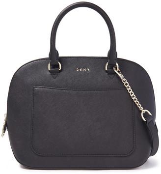 DKNY Logo-embellished Textured-leather Shoulder Bag