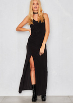 Missy Empire Chelsie Black Slinky Thigh Split Maxi Dress