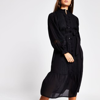 River Island Womens Black long sleeve lace insert midi dress