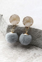 LuLu*s Causing a Commotion Gold and Taupe Pompom Earrings
