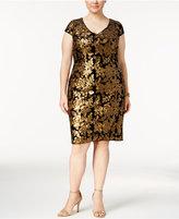 Adrianna Papell Plus Size Sequined Velvet Sheath Dress