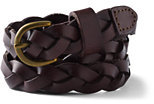 Lands' End Girls Thin Braided Leather Belt-Brown