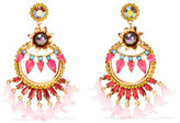Elizabeth Cole 24-Karat Gold-Plated Swarovski Crystal And Faux Pearl Resin Earrings
