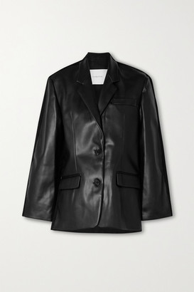 pushBUTTON Paneled Faux Leather And Denim Blazer - Black