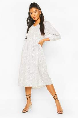 boohoo Spotty V Neck Smock Midi Dress
