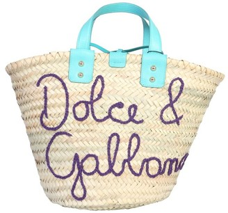 Dolce & Gabbana Kendra Embroidered Straw Tote Bag