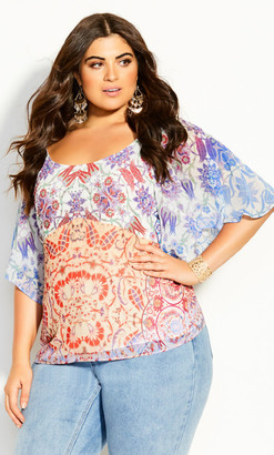 City Chic Cassia Mirror Top - ivory