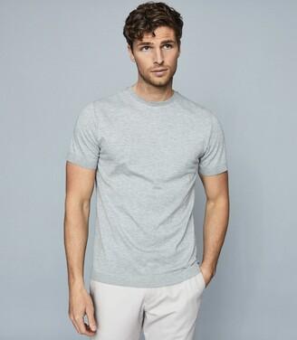 Reiss Iona - Self-start Rib-knit T-shirt in Grey