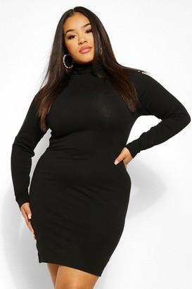 boohoo Plus Long Sleeve Turtleneck Mini Bodycon Dress