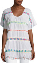 Johnny Was Daisy Sheer Dolman-Sleeve Embroidered Top, White