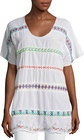 johnny was daisy sheer dolmansleeve embroidered top white