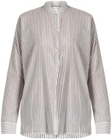 Vince Stand-collar striped cotton shirt