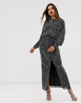 Asos Edition EDITION batwing leaf embellished maxi dress with open back