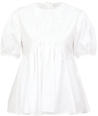 Cecilie Bahnsen Mie Lace-trimmed Collar Flared Cotton-poplin Top - White