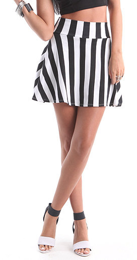 Kirra Hi Rise Striped Skater Skirt