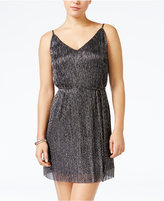 As U Wish Juniors' Metallic Crinkled A-Line Dress