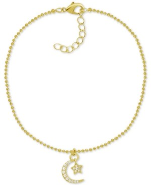 Essentials Crystal Star & Moon Charm Anklet in Gold-Plate