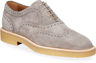 Christian Louboutin Men's Charlie Crepe-Sole Suede Wing-Tip Oxford Shoes