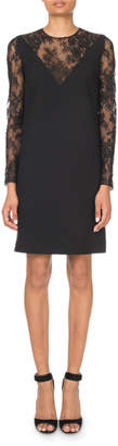 Givenchy Lace-Inset V-Illusion Mini Dress