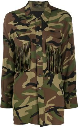 R 13 Fringed Camouflage Print Shirt