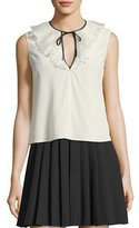 RED Valentino Sleeveless Tie-Neck Silk Crepe de Chine Blouse
