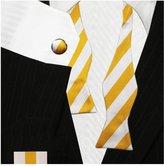 Bestow Fashion Striped Business Bow Tie Set - Cufflinks Hanky