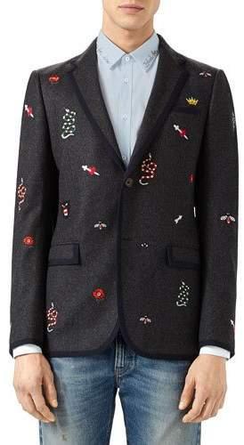 Gucci Wool Mohair Monaco Jacket, Dark Gray