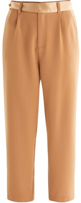 Paisie Elle Contrast Belt Trousers In Camel