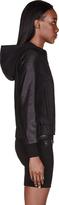 Helmut Lang Helmut Black Leather-Sleeved Hooded Bomber