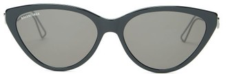 Balenciaga Cat-eye Acetate Sunglasses - Womens - Black