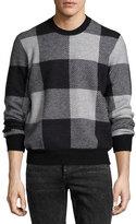Rag & Bone Addison Gingham Jacquard Felted Wool Crewneck Sweater, Light Gray/Black