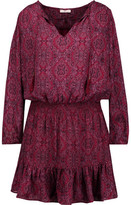 Joie Kleeia Tasseled Printed Washed-Silk Mini Dress