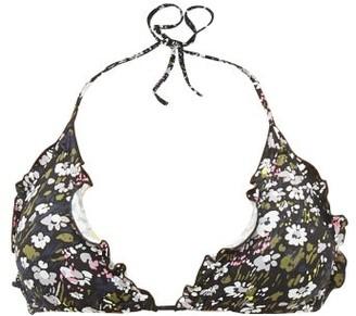 Ganni Floral-print Ruffled Bikini Top - Womens - Black