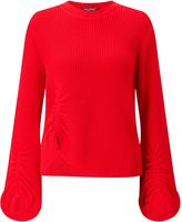 Miss Selfridge Red Balloon Sleeve Jumper