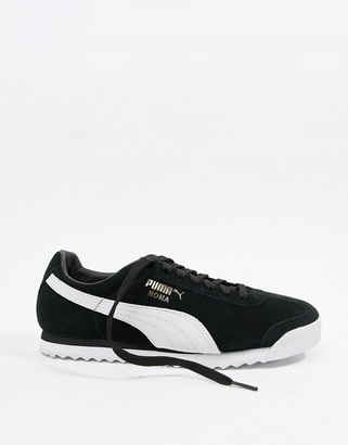 Puma roma suede sneakers in black