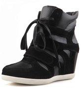 D2C Beauty Women's High Top Lace Up Suede Wedge Sneakers - 8 M US