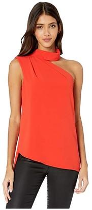 Halston Scarf Neck Top (Lipstick) Women's Clothing